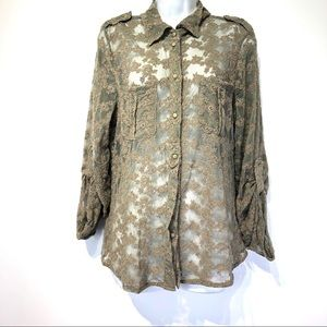 sanctuary clothing long sleeve Lace Blouse Size L